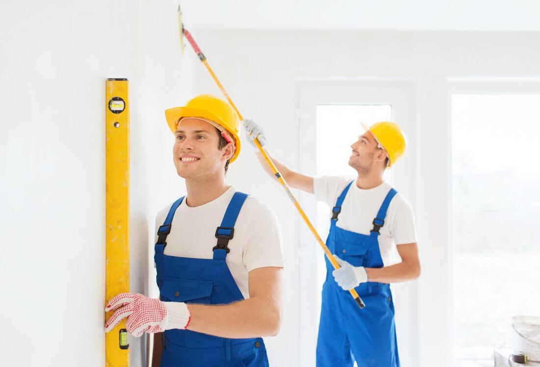professional construction workers during work